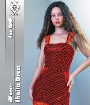 JMR dForce Sheila Dress for G8F 3D Figure Assets JaMaRe