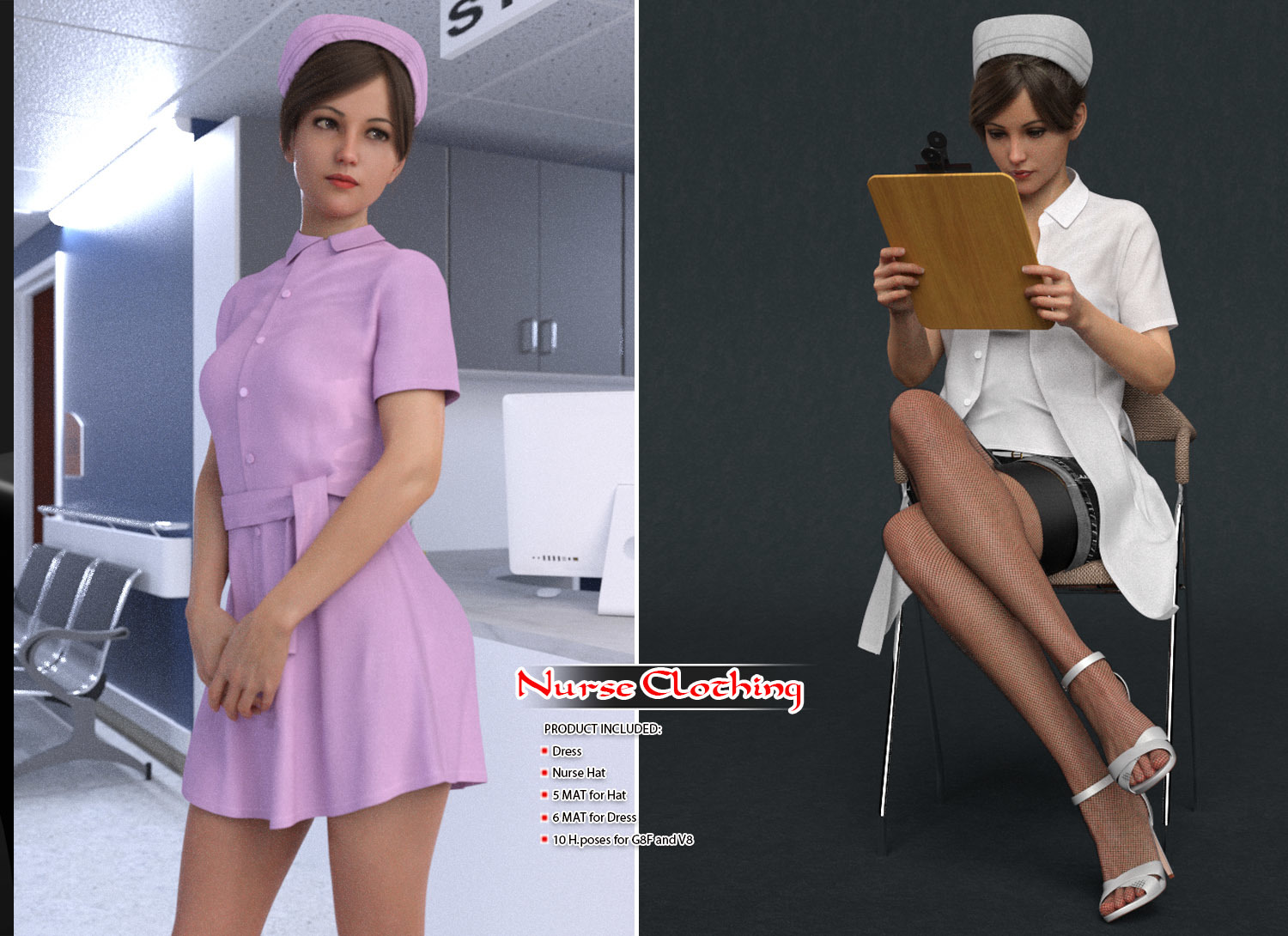 dForce Nurse Clothing and poses for G8F by halcyone