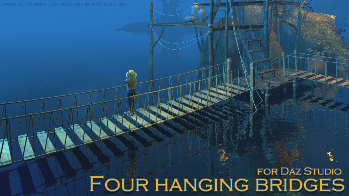 Four hanging bridges for Daz Studio
