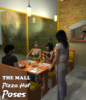 The Mall Pizza Hot Poses 3D Figure Assets greenpots
