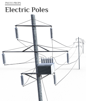 Photo Props: Electic Poles - Extended License 3D Models Extended Licenses ShaaraMuse3D