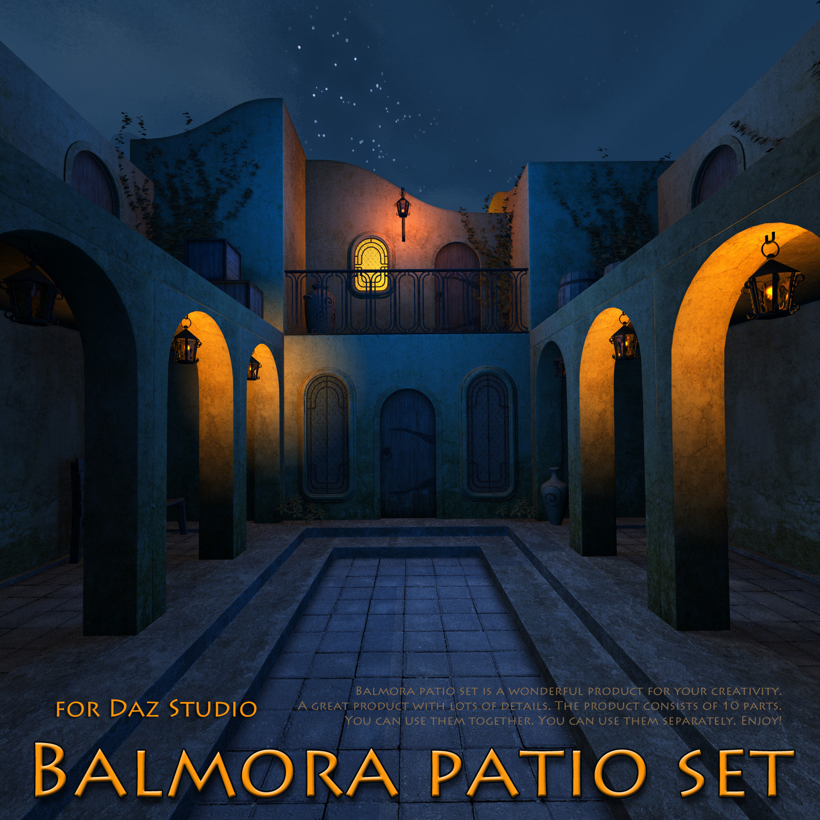 Balmora patio set for Daz Studio by 1971s