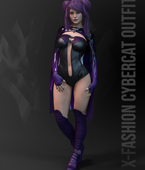 dForce X-Fashion Cybercat Outfit for Genesis 8 Female  3D Figure Assets xtrart-3d