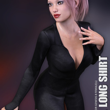dForce XL Long Shirt for Genesis 8 Females image 2
