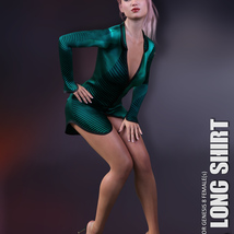 dForce XL Long Shirt for Genesis 8 Females image 3