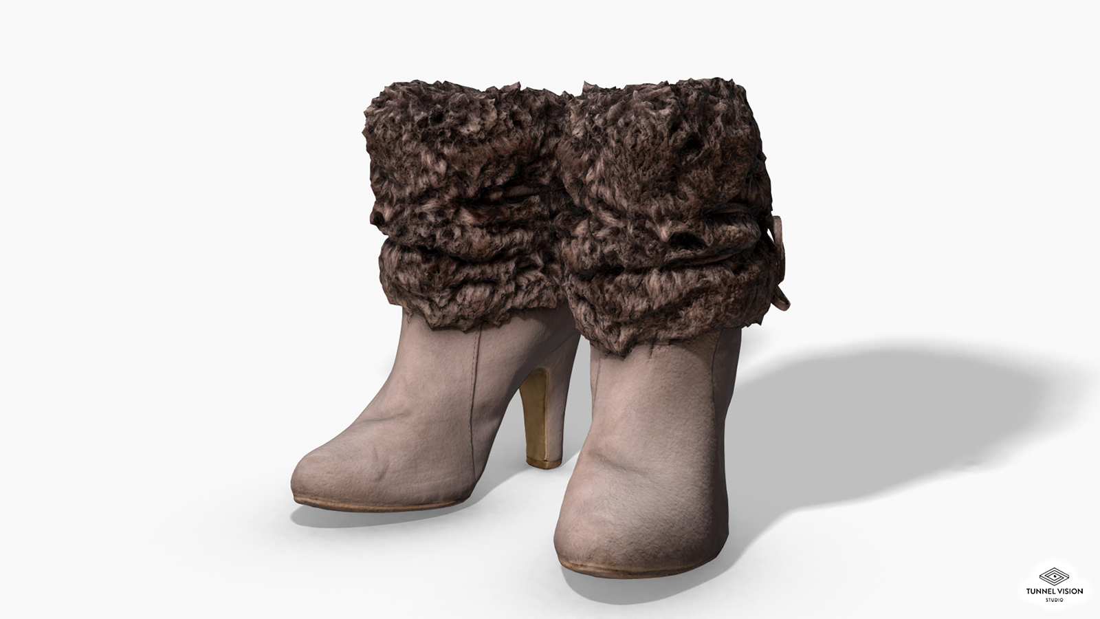 Fur Trim Heel Boots - Photoscanned PBR - Extended License by TunnelVision
