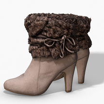 Fur Trim Heel Boots - Photoscanned PBR - Extended License image 1