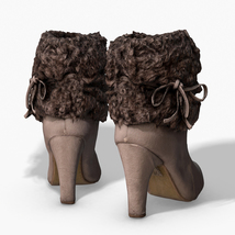 Fur Trim Heel Boots - Photoscanned PBR - Extended License image 2