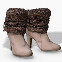 Fur Trim Heel Boots - Photoscanned PBR - Extended License image 3
