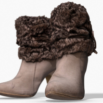 Fur Trim Heel Boots - Photoscanned PBR - Extended License image 4