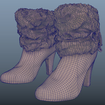 Fur Trim Heel Boots - Photoscanned PBR - Extended License image 7