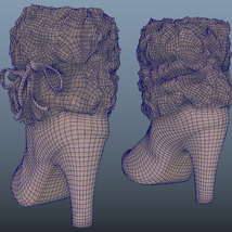 Fur Trim Heel Boots - Photoscanned PBR - Extended License image 8