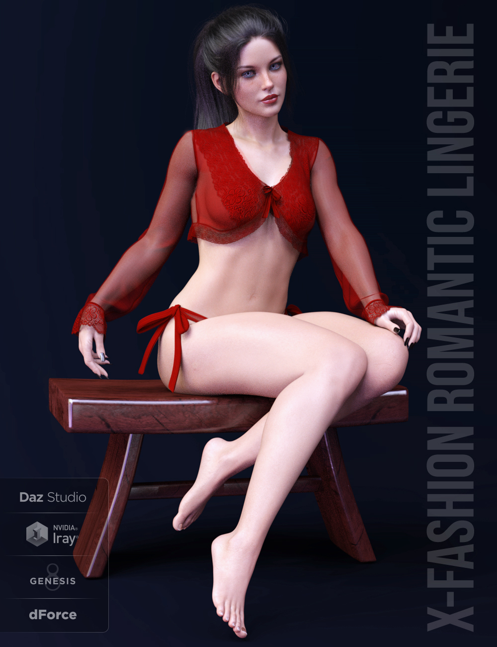 X-Fashion Romantic Lingerie for Genesis 8 Female(s) by xtrart-3d