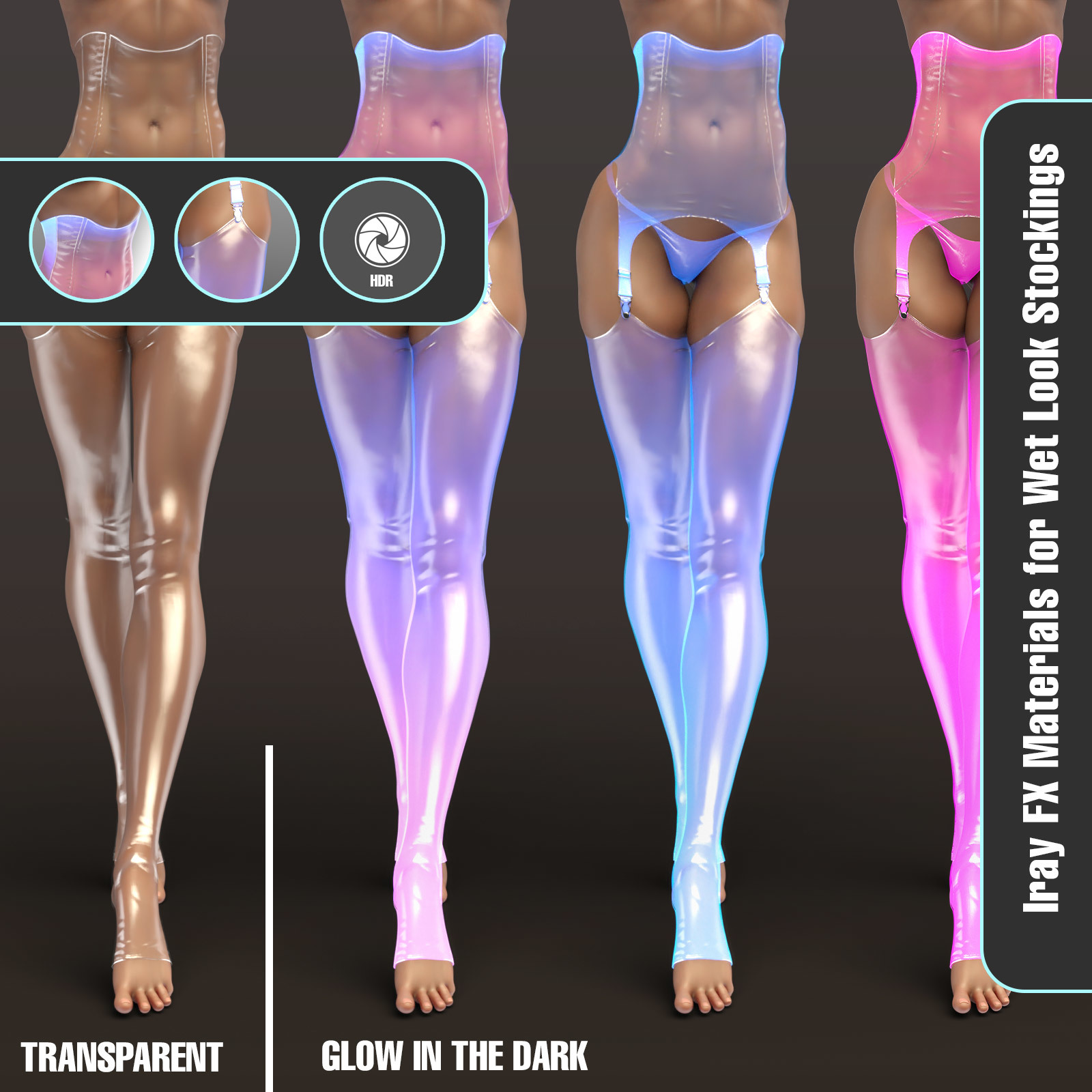 Iray FX Material Addon for Wet Look Stockings by benalive