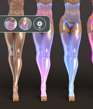 Iray FX Material Addon for Wet Look Stockings 3D Figure Assets benalive