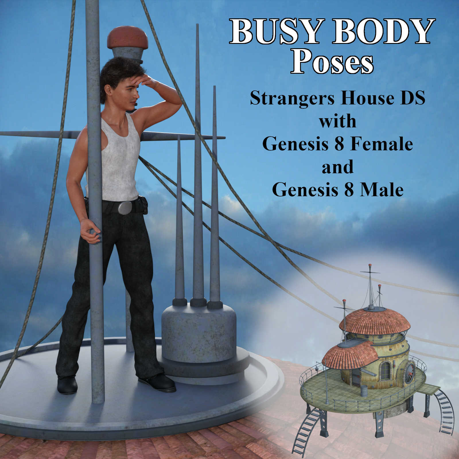 BUSY BODY Pose Set for Strangers House DS with Genesis 8 Female / Male (G8F/G8M)