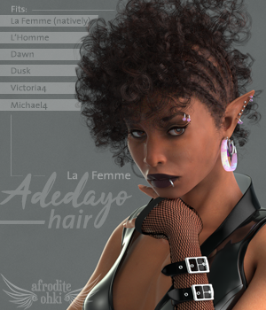 Adedayo Hair for La Femme and more 3D Figure Assets La Femme - LHomme Poser Figures Afrodite-Ohki