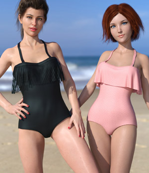 Frill n' Fringe Swimsuit for G8F 3D Figure Assets BubbleCloud