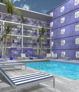 Hotel Pool Area 3D Models DexPac