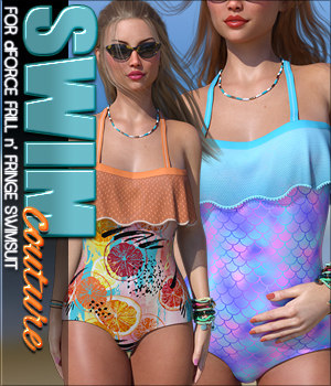 SWIM Couture for dForce Frill n' Fringe Swimsuit 3D Figure Assets Sveva