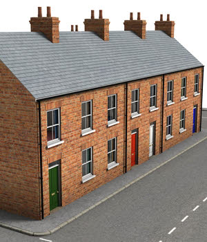 Terraced Houses - Extended License 3D Models Extended Licenses DryJack