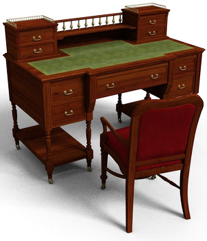 Victorian Writing Desk - Extended License 3D Models Extended Licenses DryJack