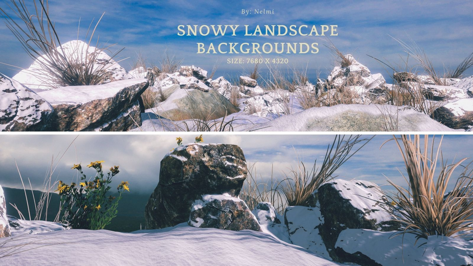 12 Snowy Landscape Backgrounds by nelmi
