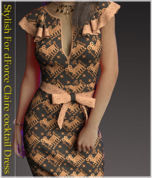 Stylish For dForce Claire Cocktail Dress Outfit 3D Figure Assets Belladzines