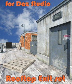 Rooftop Exit set for Daz Studio 3D Models 1971s