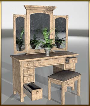 Vintage Furniture : Dressing Table for Poser 3D Models DreamlandModels