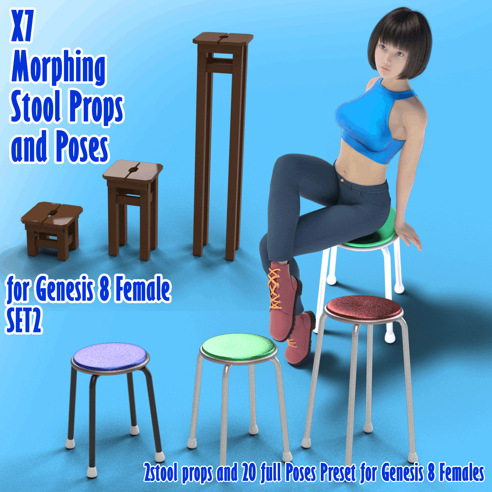 X7 Morphing Stool Props and Poses for Genesis 8 Female SET2 by x7
