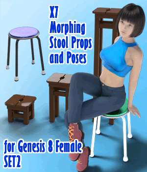 X7 Morphing Stool Props and Poses for Genesis 8 Female SET2 3D Figure Assets 3D Models x7