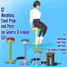 X7 Morphing Stool Props and Poses for Genesis 8 Female SET2 image 6