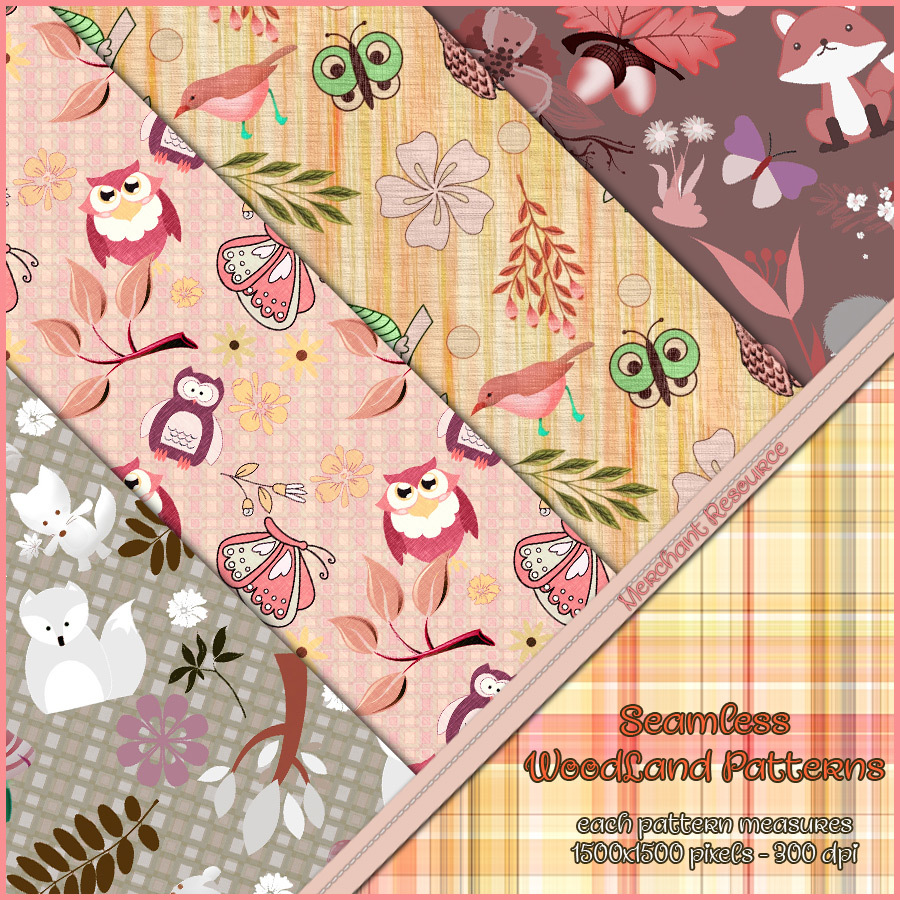 Seamless Woodland Patterns - Merchant Resource by antje