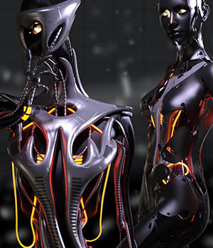 CyBody - Cyborg Internal Structure and Materials for Genesis 8 Female 3D Figure Assets DireWorks