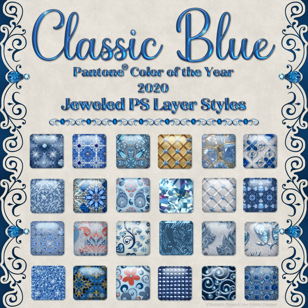 Classic Blue Jeweled PS Layer Styles by fractalartist01