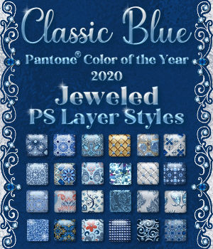 Classic Blue Jeweled PS Layer Styles 2D Graphics Merchant Resources fractalartist01