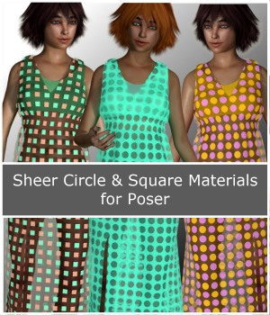 PandaB5 Sheer Circle and Square Materials for Poser 3D Figure Assets PandaB5