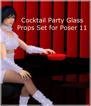 Cocktail Party Glass for Poser 3D Models PandaB5
