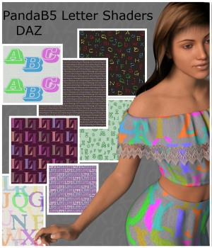 PandaB5 Letter Shaders for Daz Studio 3D Figure Assets PandaB5