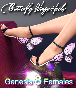 Butterfly Wings Heels for Genesis 8 Females 3D Figure Assets zoro_d