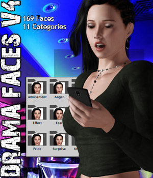 Drama Faces V4 3D Figure Assets Darkworld