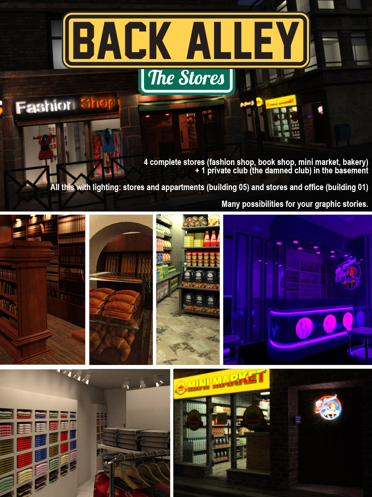 Back Alley The Stores for DS Iray - Extended License by powerage