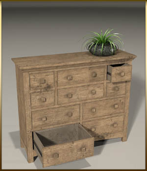 Vintage Furniture : Long Tall Dresser for Poser 3D Models DreamlandModels