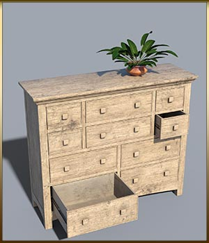 Vintage Furniture : Long Tall Dresser for DS 3D Models DreamlandModels
