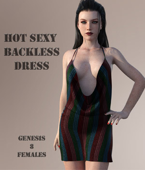 Hot Sexy Backless Dress For G8F 3D Figure Assets fefecoolyellow