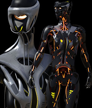 CyBody - Cyborg Internal Structure and Materials for Genesis 8 Male 3D Figure Assets 3D Models DireWorks