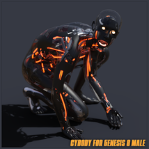 CyBody - Cyborg Internal Structure and Materials for Genesis 8 Male image 2
