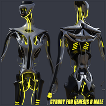 CyBody - Cyborg Internal Structure and Materials for Genesis 8 Male image 4