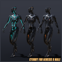 CyBody - Cyborg Internal Structure and Materials for Genesis 8 Male image 5